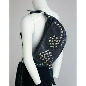 Steven Madden Leather Studded Moto Sling Bag